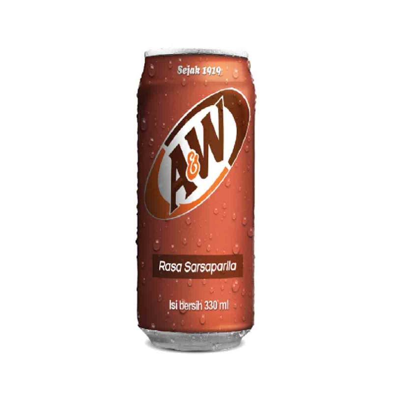 A&W Minuman Berkarbonasi Rasa Sarsaparila 330 Ml