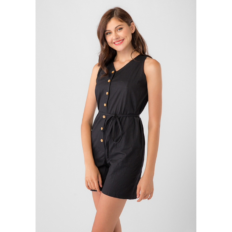 Lovadova Hope Button Tied Playsuit Black
