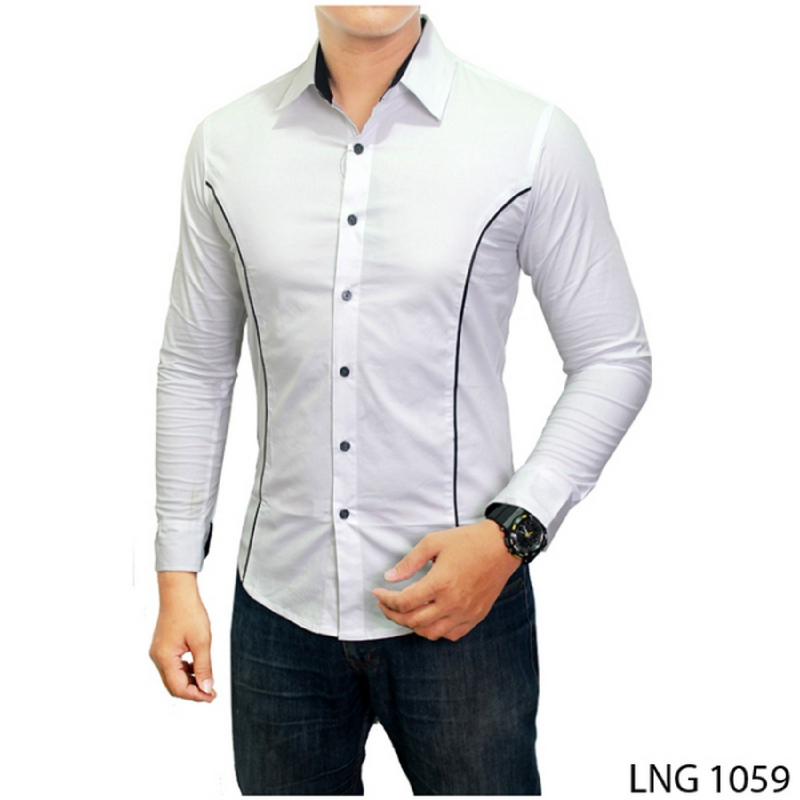 Gudang Fashion Kemeja Casual Pria Lengan Panjang Slimfit Putih LNG 1059