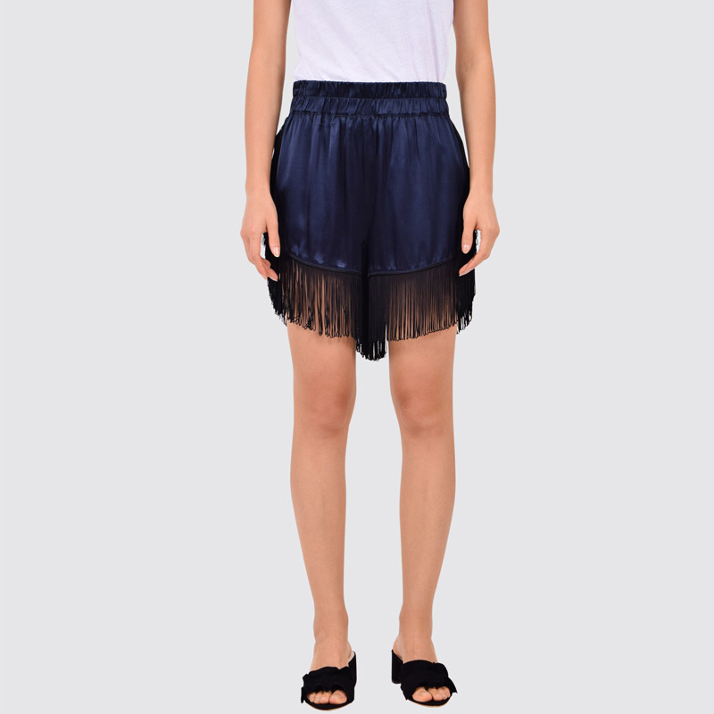 Donnelly fringed satin shorts total eclipse