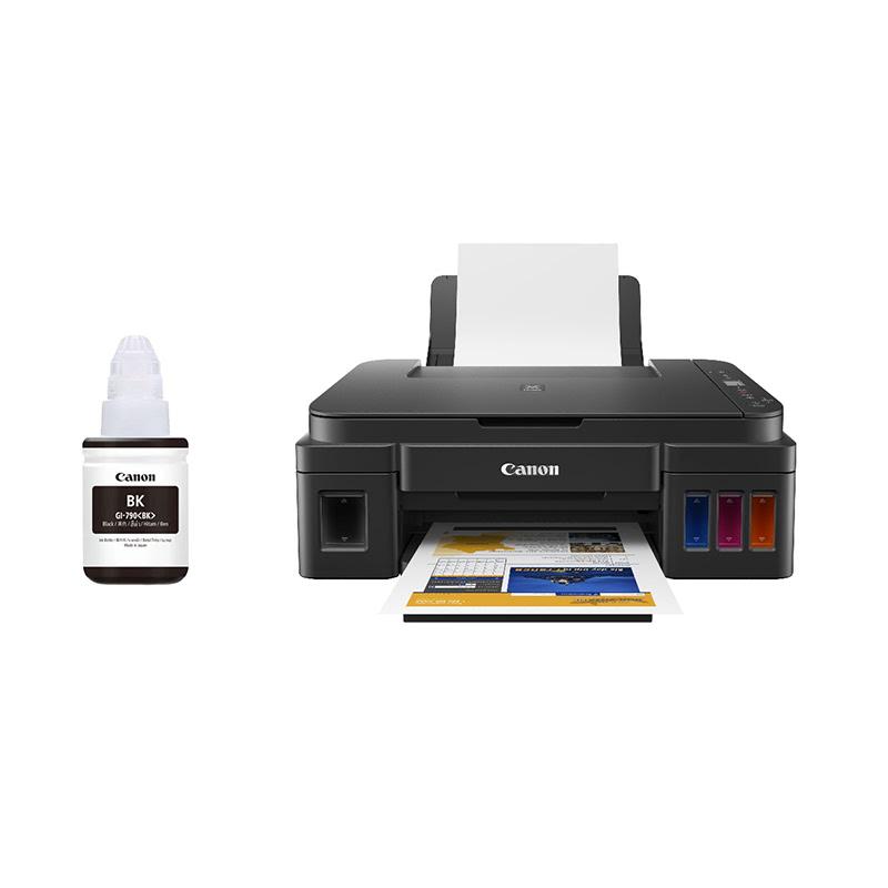 Canon Multifunction Inkjet Printer Pixma G2010 + Canon Ink GI-790 Black