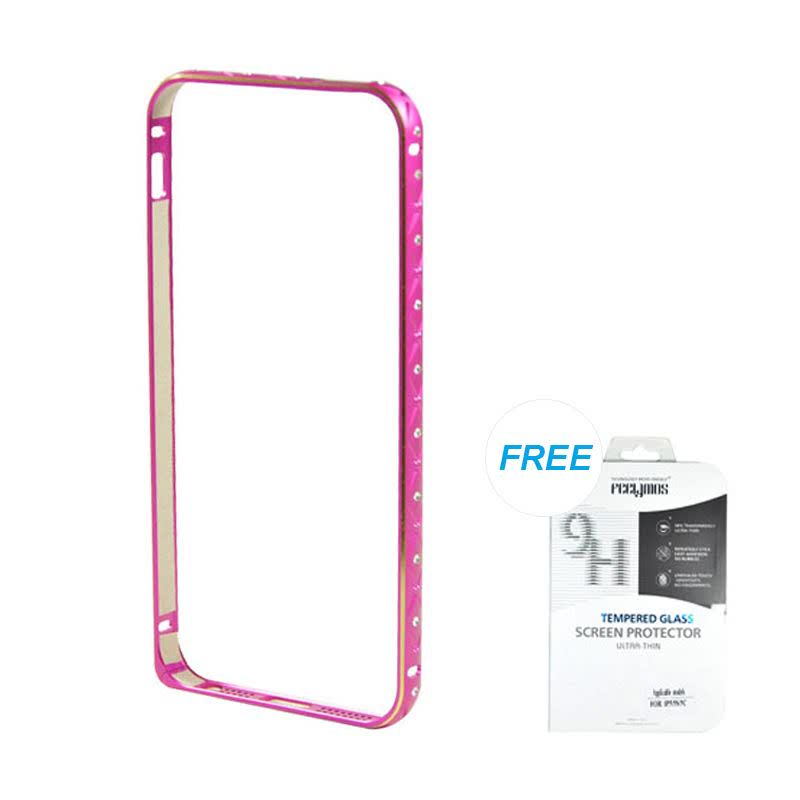 Ultrathin Diamond bumper protection for iPhone 5 dan 5s - Rose