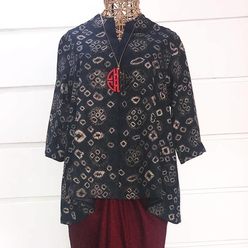Batik Chic Blouse A Jumputan Hitam Abu Coklat