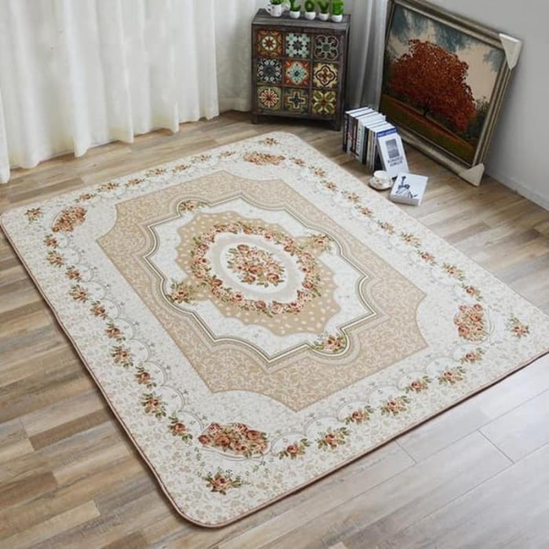 Karpet selimut karmut bunga classic vintage empuk lembut 200 x 240 cm - Beige