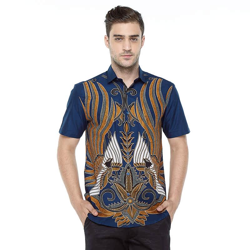 Aksa Batik Melviano Hem Pendek Blue