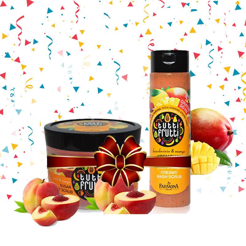 Tutti Frutti (Peach & Mango Creamy Wash Scrub 250 ml + Peach & Mango Sugar Body Scrub 300 g)