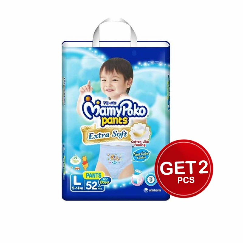 Mamypoko Popok Celana Extra Soft L 52S (Boy) (Get 2)