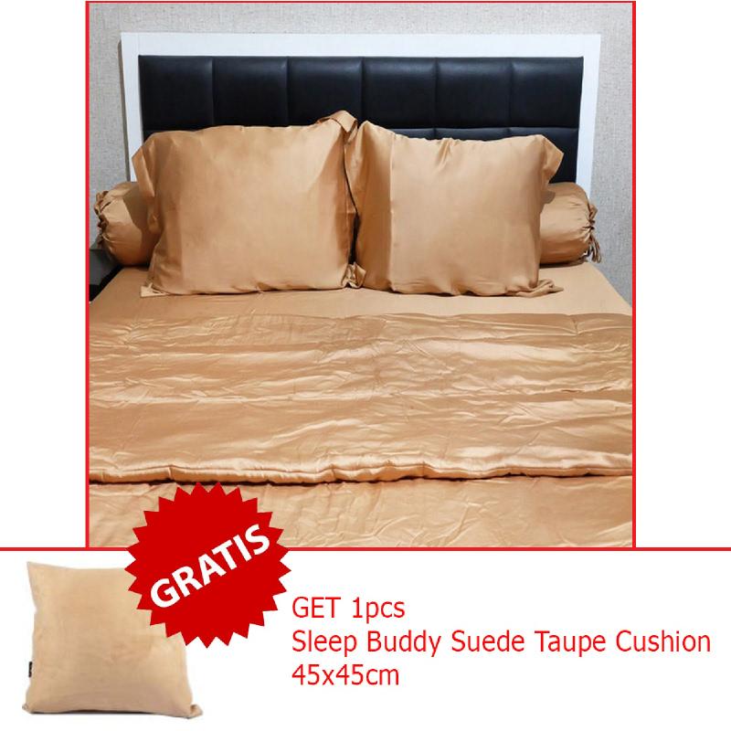 Sleep Buddy Set Sprei dan Bed Cover Plain Mocca Sutra Tencel King Size