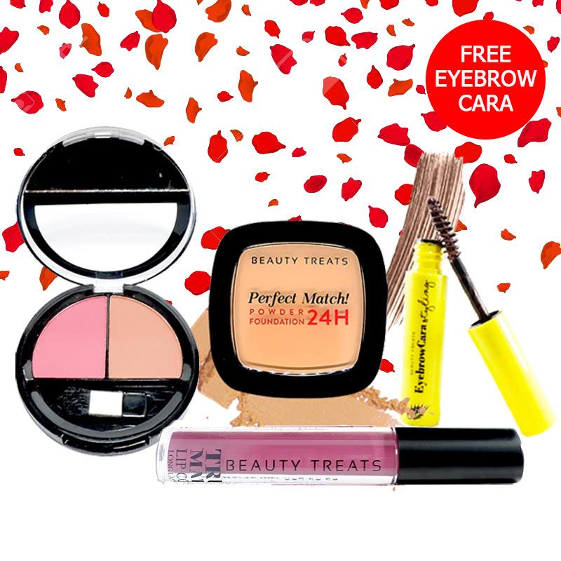 Beauty Treats Make Up Set A (Perfect Match Powder Foundation 24H No. 4 + True Matte Lip Color No. 11 + Duo Blush No. 2) FREE Eyebrowcara Dark Brown
