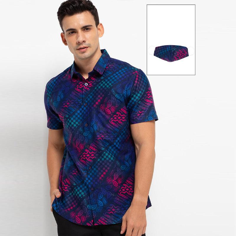 Arthesian Kemeja Batik Pria Bastian Batik Printing Blue