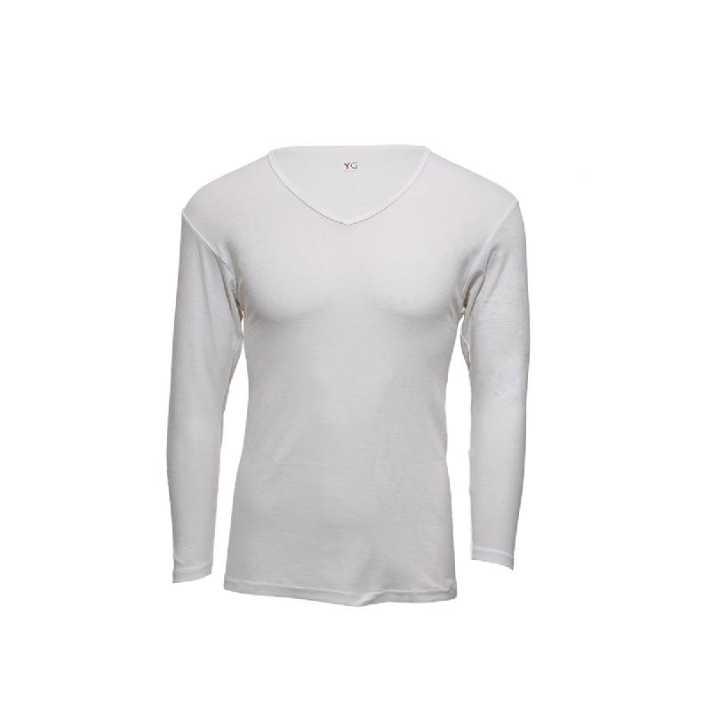 Gunze Vneck Men Tshirt Long Sleeve YV8109 White