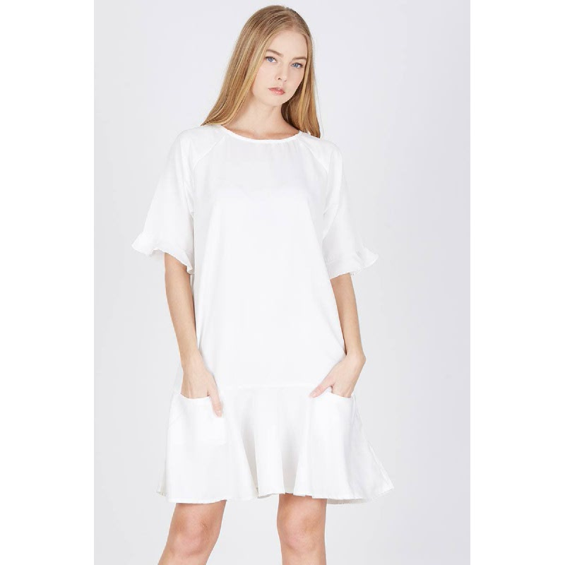 Paquita Raglan Shift Dress White