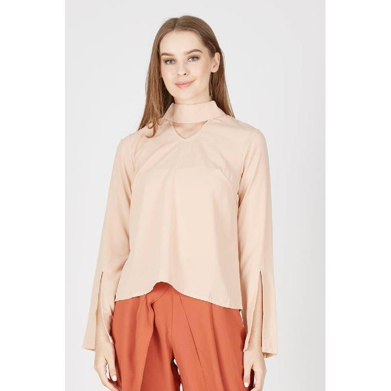 Miranda Collar Top In Peach
