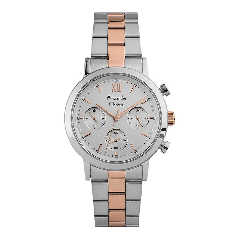 Alexandre Christie AC 2901 BF BTRSL Chronograph Ladies Silver Dial Dual Tone Stainless Steel