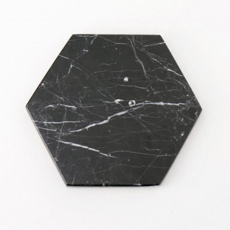 Hexagon Black Zircon Marble - Hitam Diameter 20cm