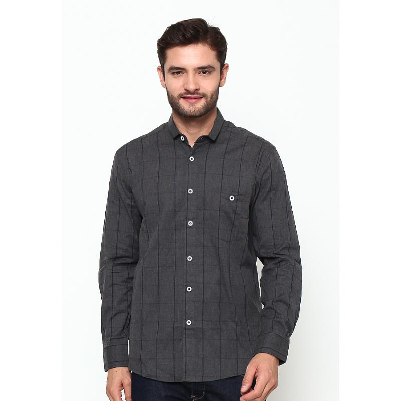 17Seven Nebraska Men Flanel Shirt Dark Grey