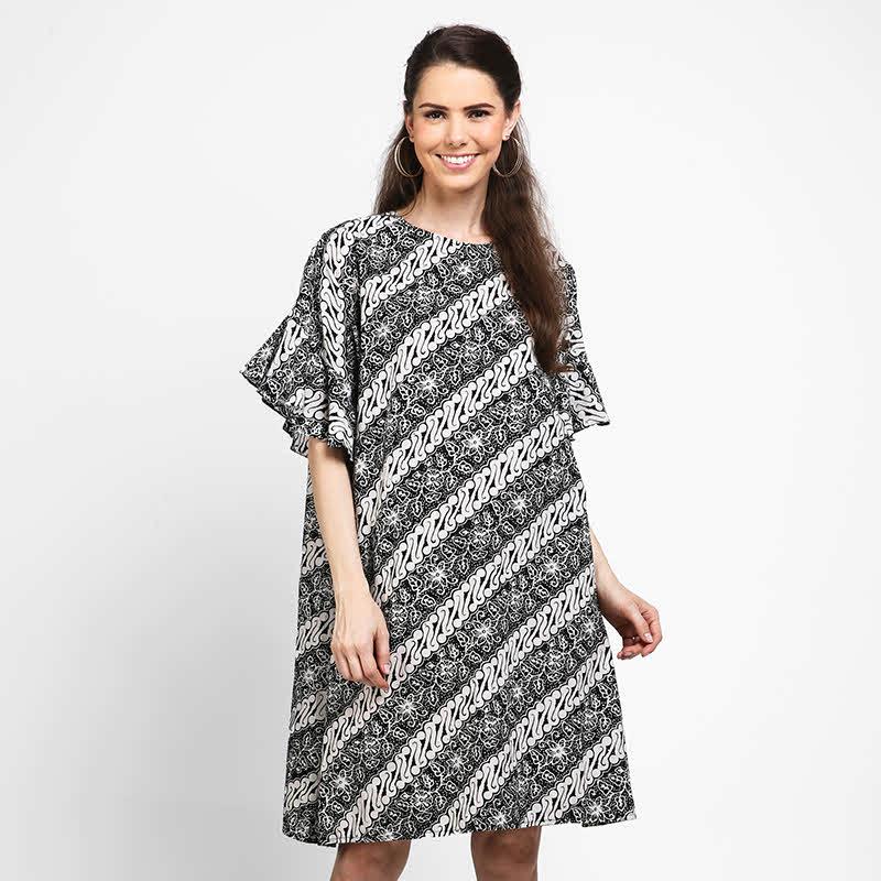 Astari Batik Dress Tangan Rumbai Black