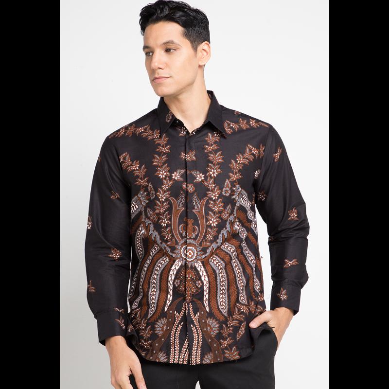 Arjuna Weda Kemeja Batik Pisang Bali Besar Cokelat Tua