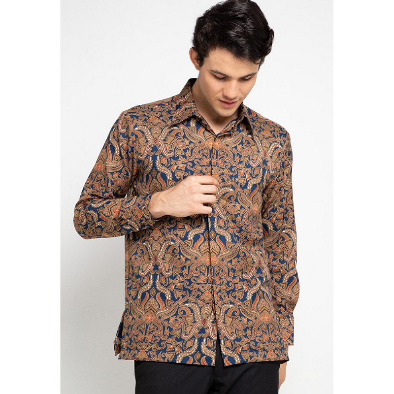 Adikusuma By Arjunaweda Kemeja Batik Modern Biru Tua