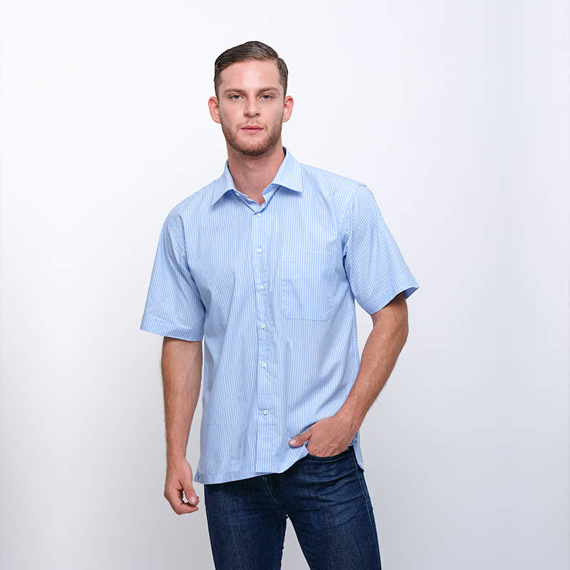 Gianni Visentin Regular Shirt Biru Garis