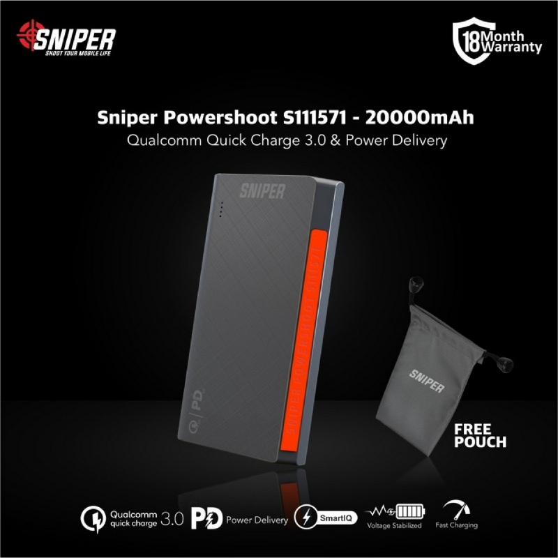 Sniper PowerShoot S111571 - 20000mAh - Flight Friendly Powerbank