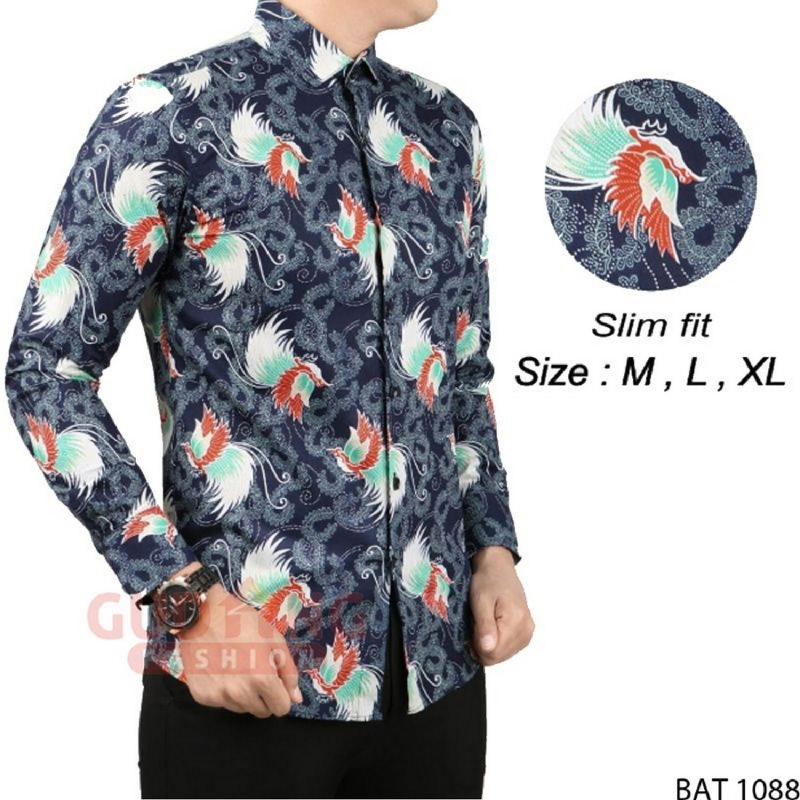 Gudang Fashion Batik Modern Slim Fit Panjang Pria Biru