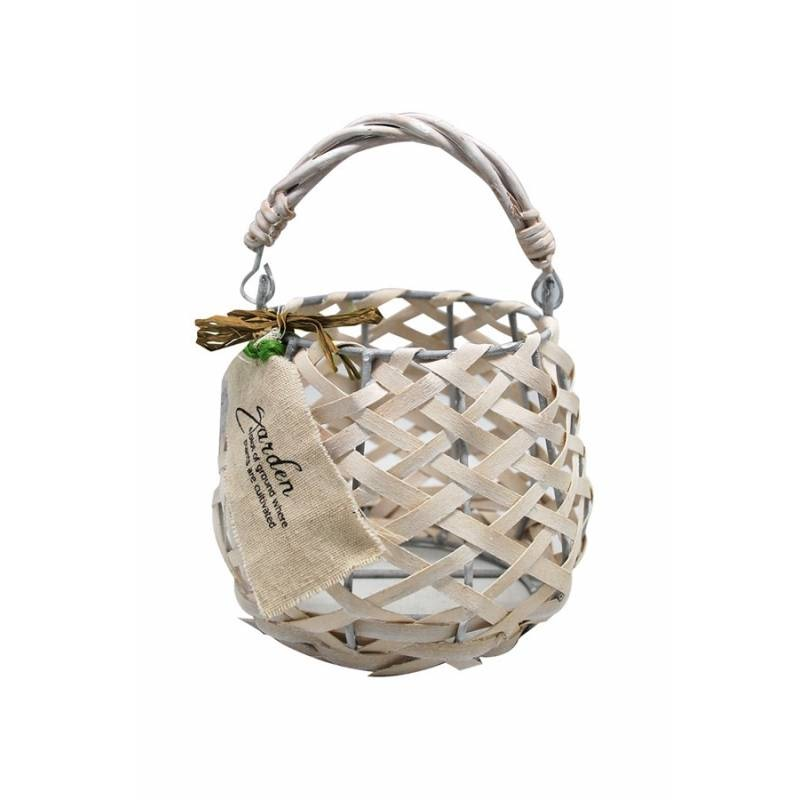 JYSK Basket Within Glass Cup S 13X12X12Cm White Wood