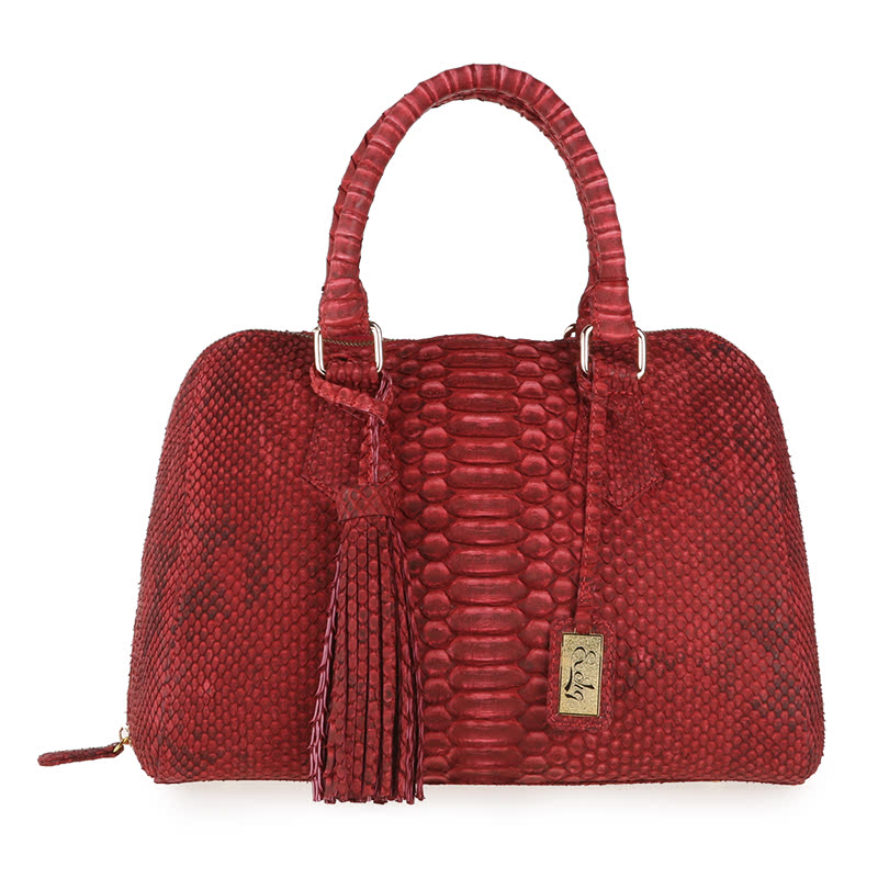Exotiq Leather Calista Hand Bag Phyton Twotone Gold