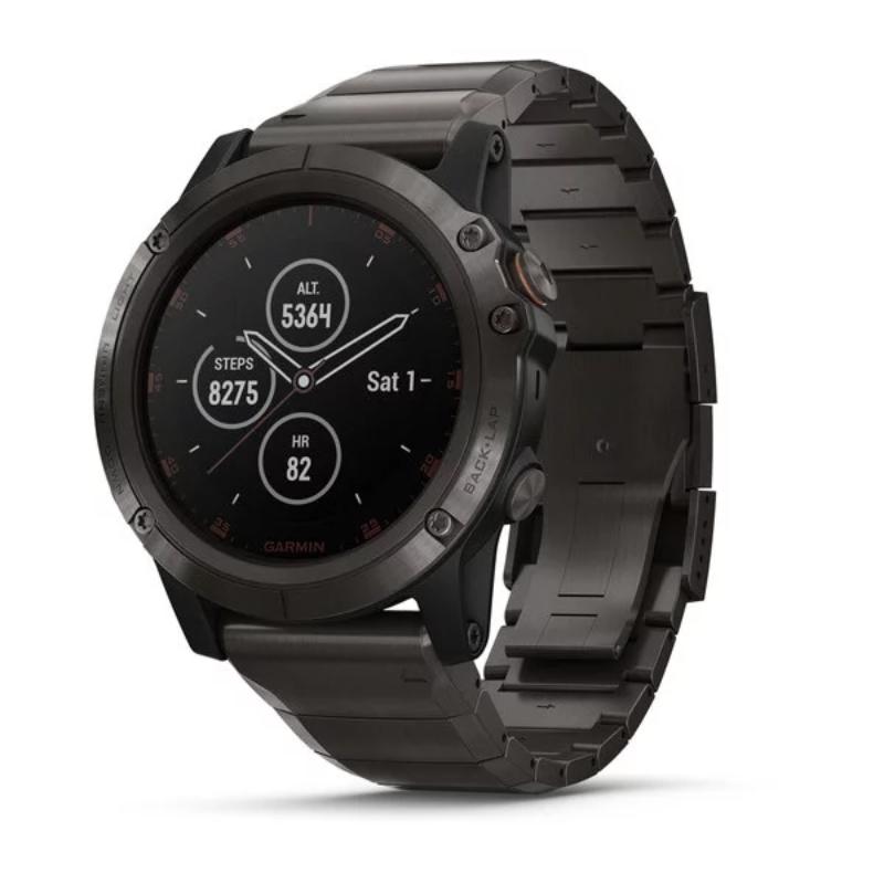 Garmin Smartwatch Fenix 5X Plus Sapphire, Carbon Gray DLC Titanium with DLC Titanium Band