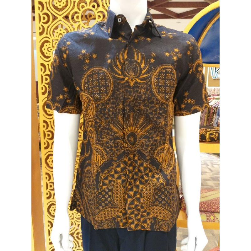 Batik Semar Pria Hem Pendek Full Tricot Lingkar Tinumpah 52 Sogan Cokelat Size SML