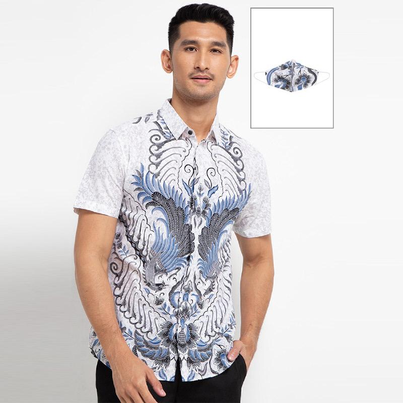 Arthesian Kemeja Batik Pria Abimanyu Batik Printing White