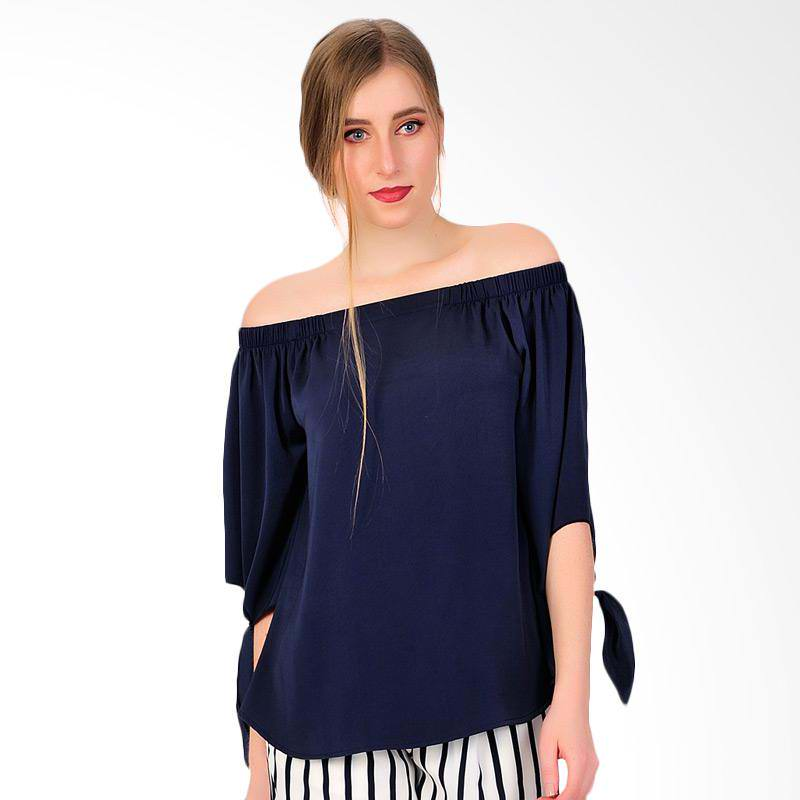 Chic Simple Women's Blouse - Navy