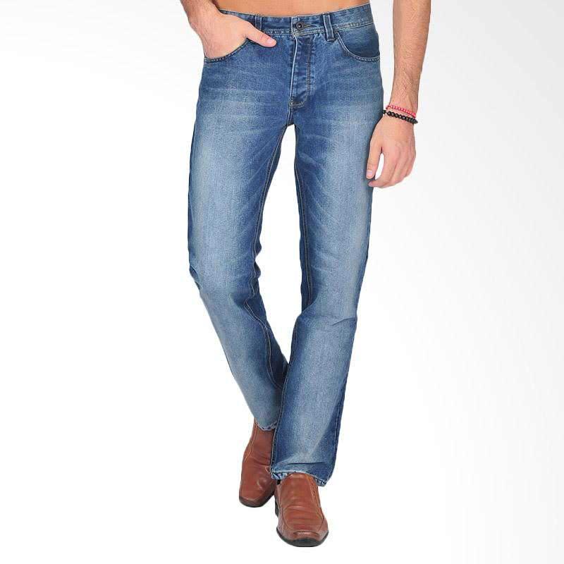 Stainwash Jeans Pria - Biru Gelap