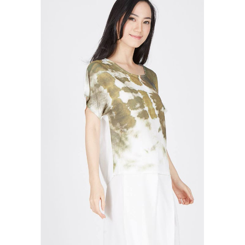 Francois Uffen Printed Top in Olive