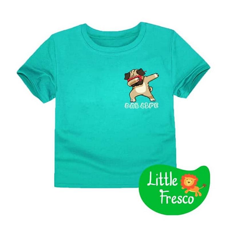 Little Fresco - Kaos Anak Pug Dab Hijau Muda