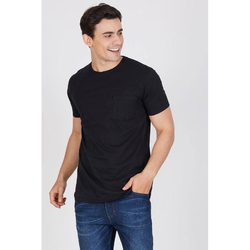 Men Plain Longline Tshirt Black
