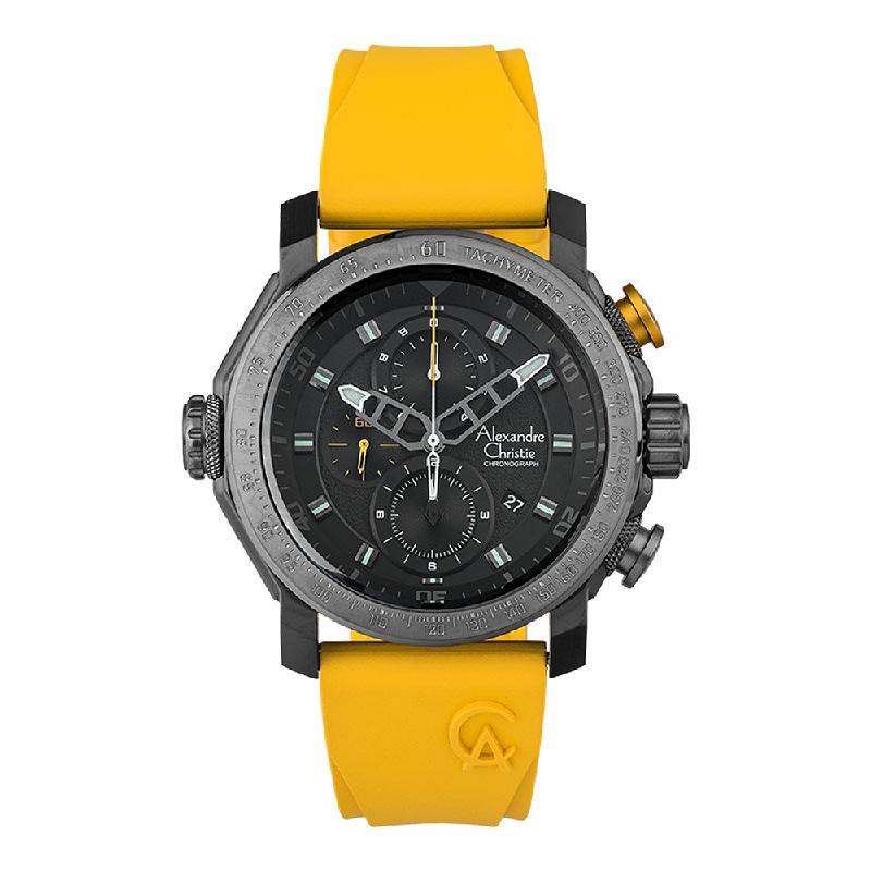Alexandre Christie AC 6565 MCREPBAYL Chronograph Men Black Dial Yellow Rubber Strap