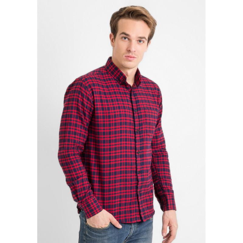 17Seven Men Shirt Flanel Granby Red