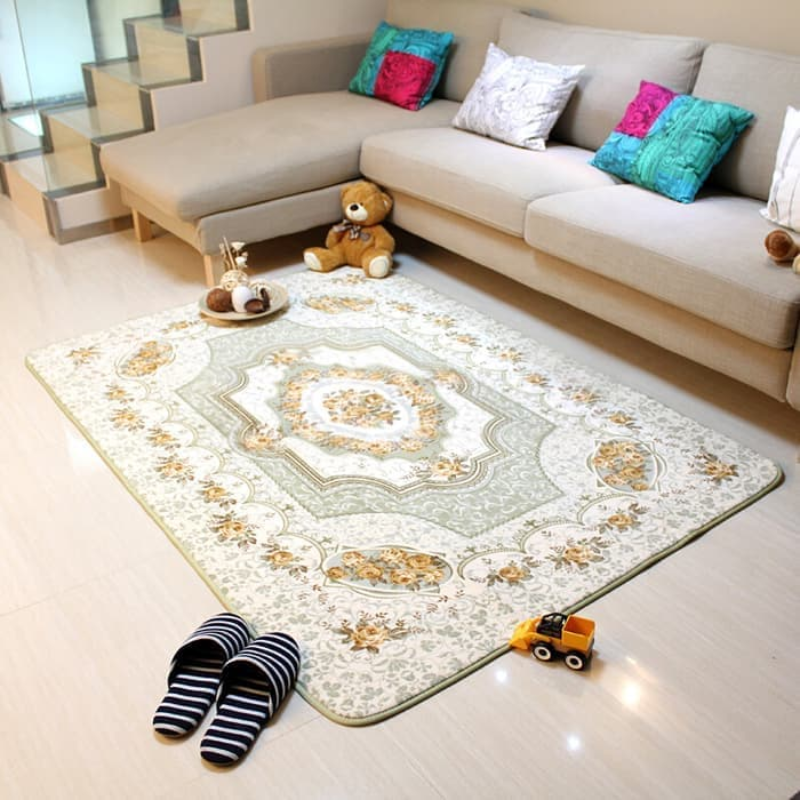 Karpet selimut karmut bunga classic vintage empuk lembut 200 x 240 cm - Green