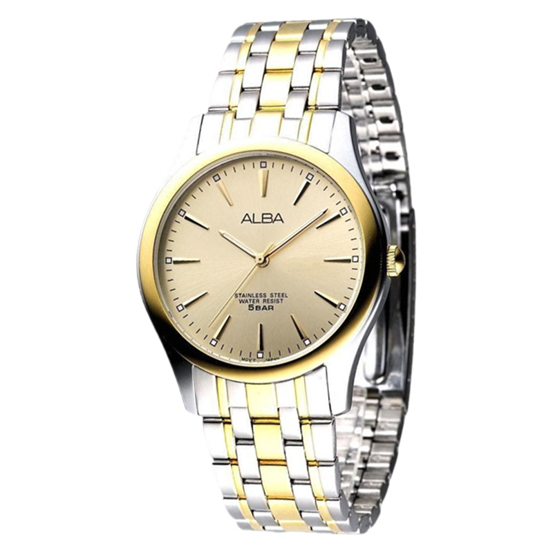 Alba ARSY32X1 Ladies Gold Dial Dual Tone Stainless Steel Strap