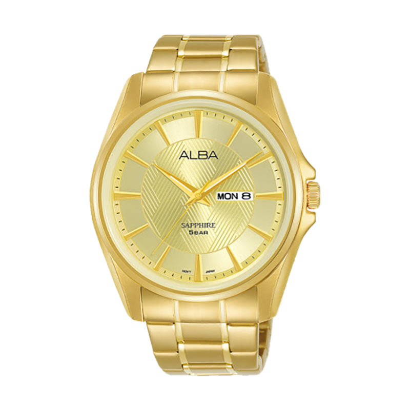 Alba AJ6094X1 ChampagnePattern Dial Gold Stainless Steel Strap