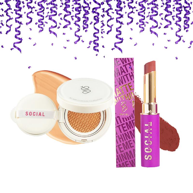 Social Cosmetics BC Airy Cushion Foundation 03 Medium 14gr (Exp. MAR 2020) + Lipstick Matte Within Me INNOCENT 3gr (Exp. JUN 2020)