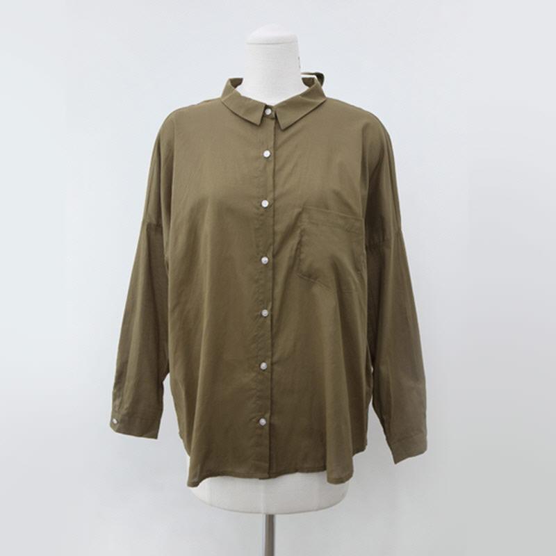 Back Ribbon Button Shirt (4color) BROWN