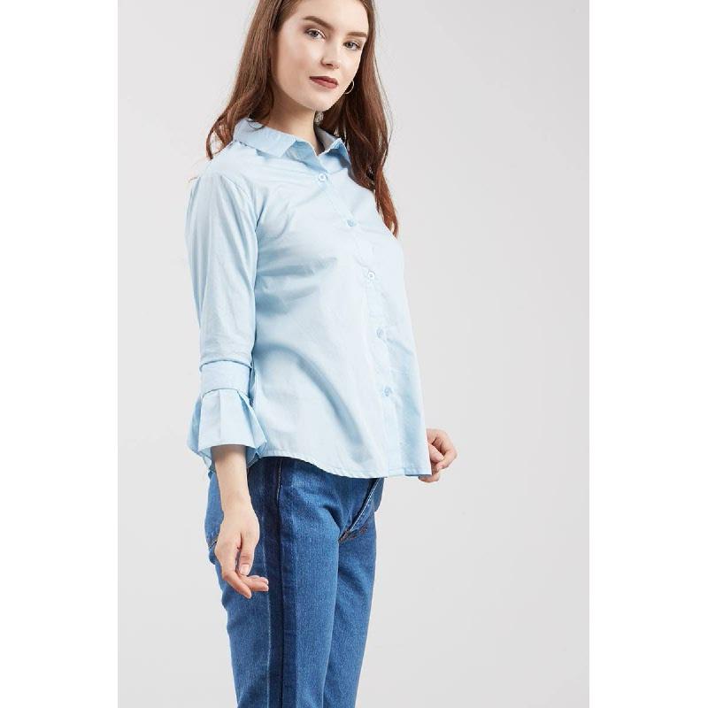 Susan Frilled Sleeve Shirt Blue