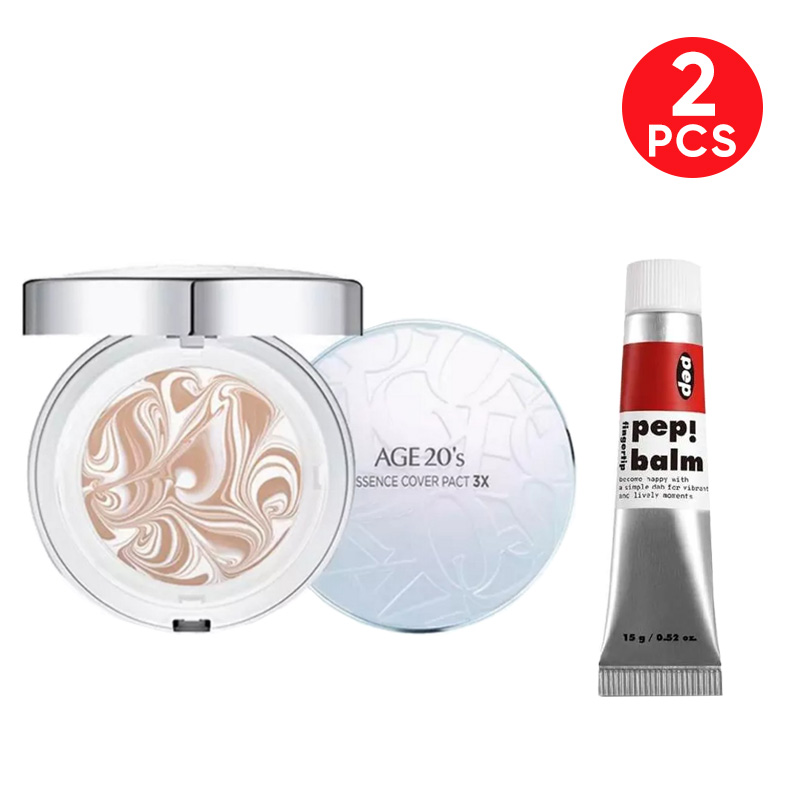 Age 20s Essence Cover Pact White Latte - White Beige 21 + I'm Meme Pep! Balm 001 Recharger