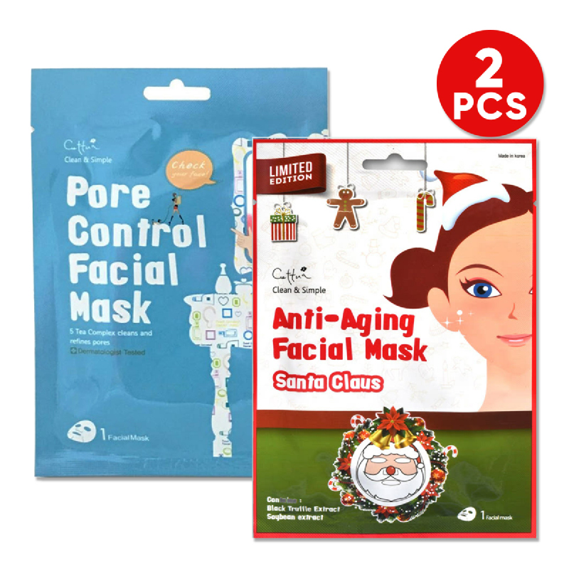 Cettua C&S Pore Control Mask 1S + Cettua C&S Anti-Aging Facial Mask Santa