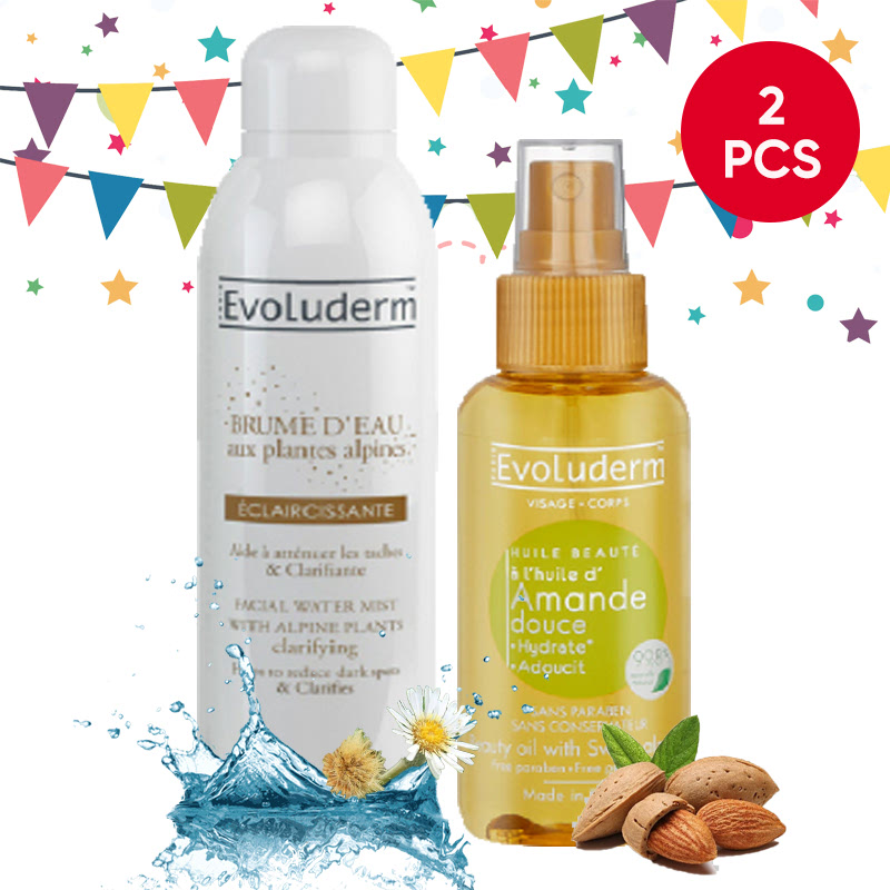 Evoluderm Facial Water Mist Clarifying With Alpine Plants 150Ml + Evoluderm 100mL Beauty Oil Sweet Almond