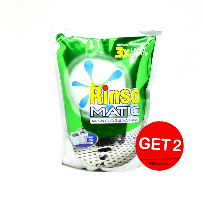 Rinso Detergent Matic Liquid Top Load Pouch 1.6 L (Get 2)