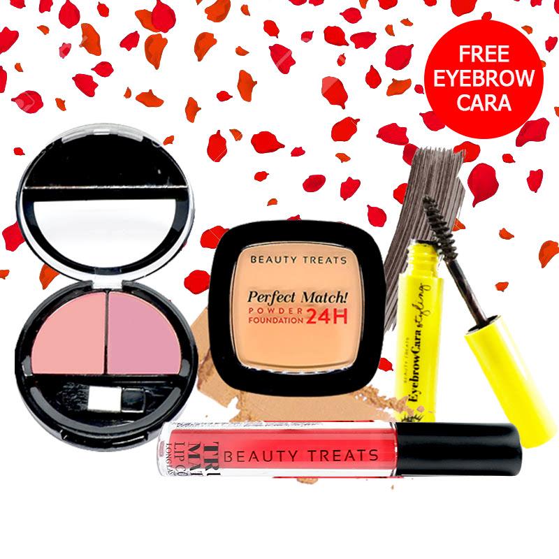 Beauty Treats Make Up Set A (Perfect Match Powder Foundation 24H No. 4 + True Matte Lip Color No. 9 + Duo Blush No. 3) FREE Eyebrowcara Dark Grey Brown