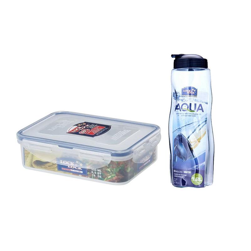 Bundle Set Lock and Lock Food Container HPL815L 550mL (HPL815L) + Ice Rock Water Bottle HAP781 1.2L